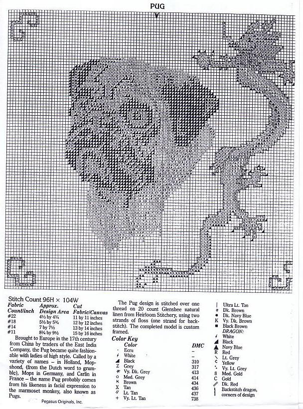 """Схема вышивки """"Мопс и дракон"""""""